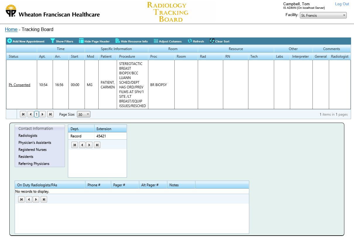 Wheaton Franciscan Healthcare - Radiology Tracking Board - Screenshot 3