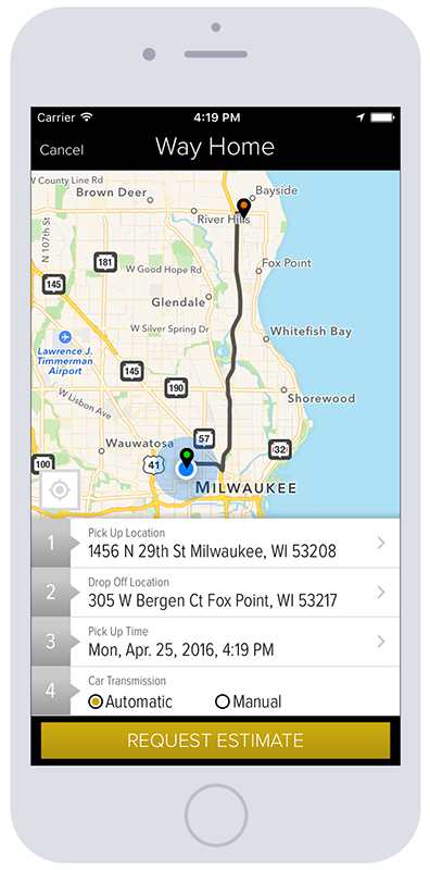 WayHome Screenshot iPhone6 Request Ride | Mobile App Development Milwaukee