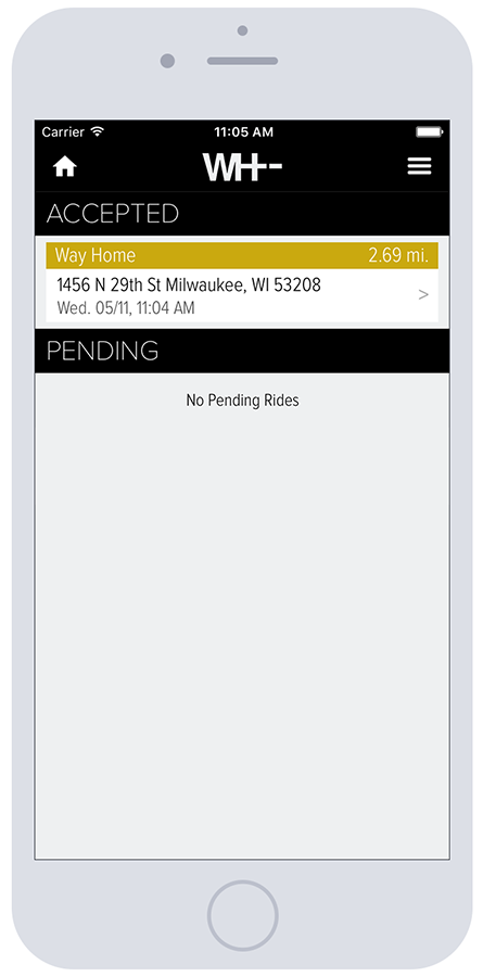 WayHome Screenshot iPhone6 Rides | Mobile App Development Milwaukee