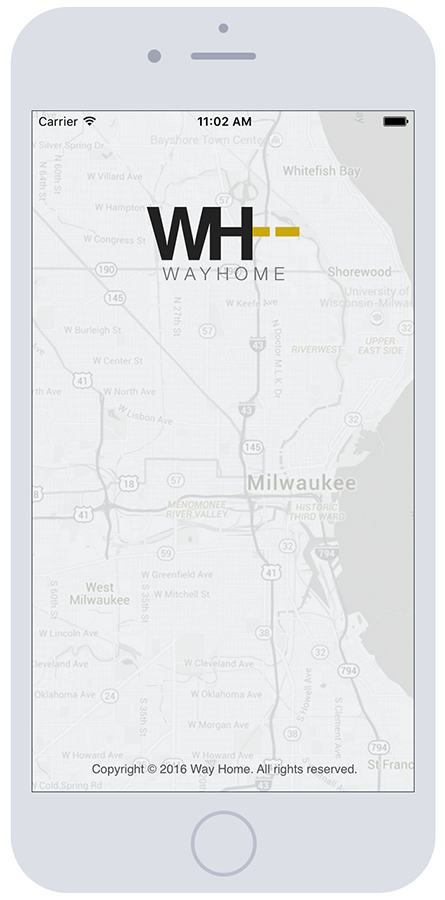 WayHome Screenshot iPhone6 Splash | Mobile App Development Milwaukee